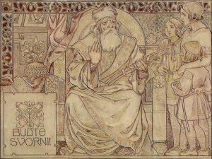 Svatopluk mit seinen drei Söhnen und drei Zweigen, nach der Legende von Svatopluks Zweigen